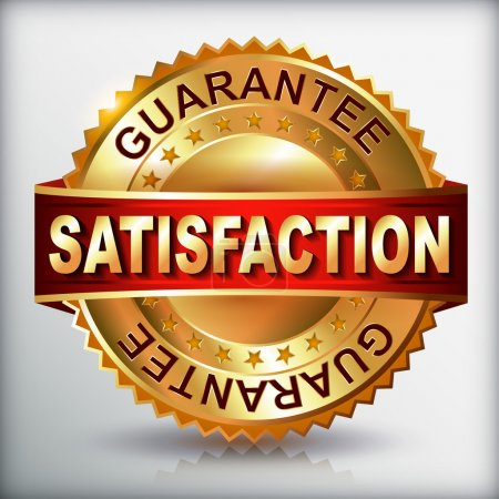 Illustration for Satisfaction guarantee golden label with ribbon. Vector eps 10 illustration. - Royalty Free Image