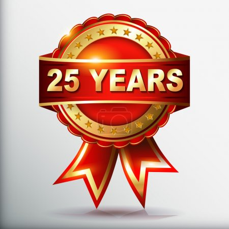 25 years anniversary golden label with ribbon