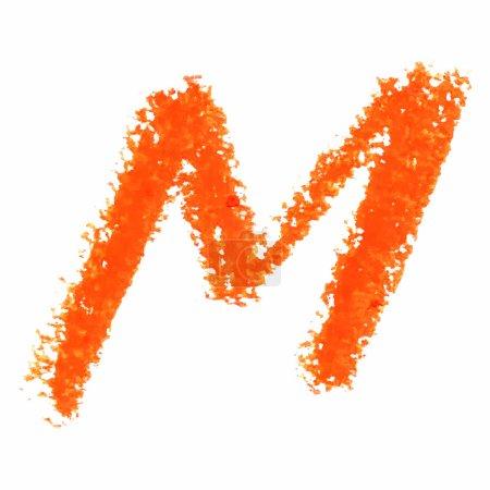 M - Orange handwritten letters on white background.