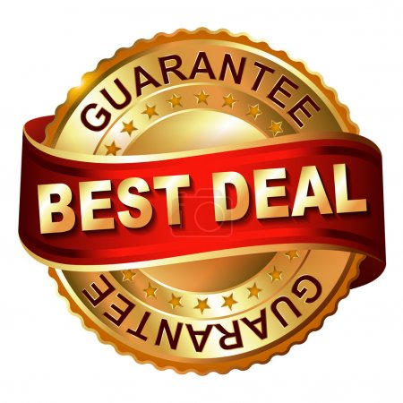Best deal guarantee golden label with ribbon