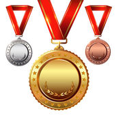First place Second placeThird place Empty Award Medals Set isolated on white with red ribbons and stars Vector illustration
