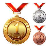 First place Second placeThird place Award Medals Set isolated on white with red ribbons and stars Vector illustration