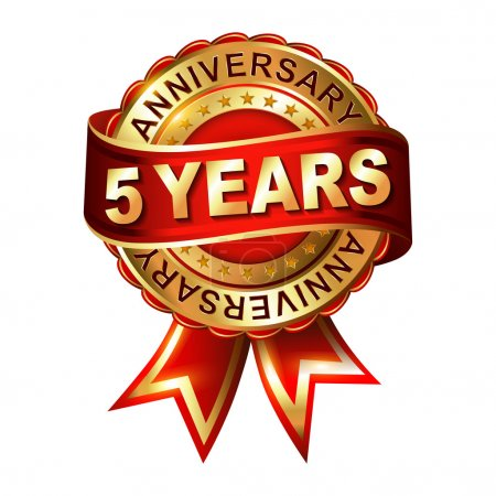 5 years anniversary  label with ribbon.