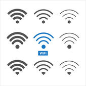 Set of nine different wireless wifi icons for design