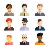 Business men flat icons set