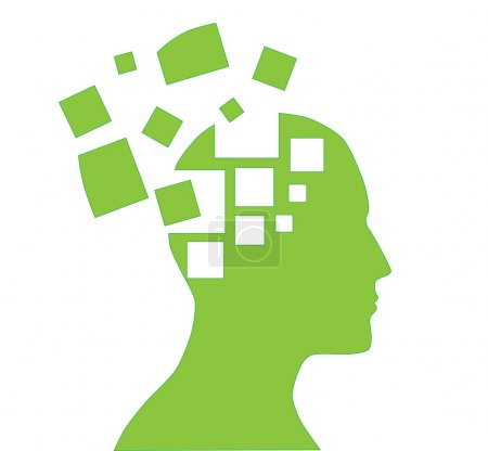 Illustration for Illustration of human head silhouette with puzzle pieces - Royalty Free Image