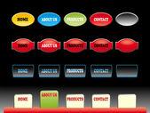 Editable website buttons on black vector