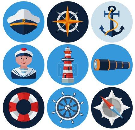 Nautical flat icons set