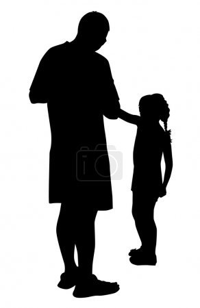 Illustration for The silhouette of the Pope with his daughter vector - Royalty Free Image