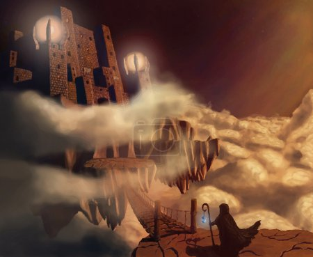 Illustration for Dark castle in clouds. Fairytale. Fantasy landscape. Vector illustration - Royalty Free Image