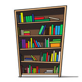 Cartoon illustration of a bookshelf