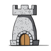 Cartoon medieval tower Vector illustration