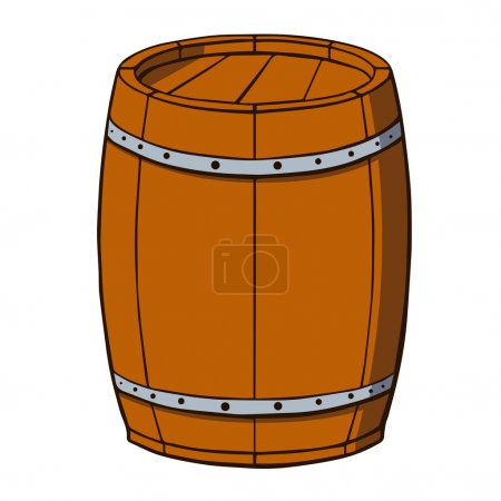 Cartoon barrel on white background. Vector illustration