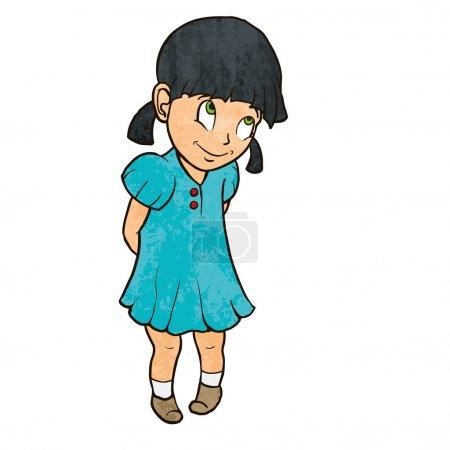 Cute shy cheerful little girl in blue dress. Cartoon illustration