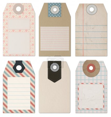 Set of 6 computer designed high resolution vintage Style Tags
