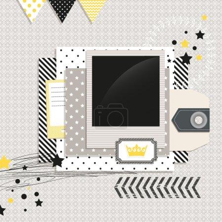 Illustration pour Éléments de design moderne gris et jaune : Modèle de ferraille avec espace vide pour vos photos ou texte - image libre de droit