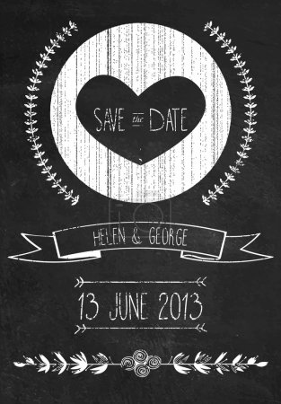 Illustration for Chalkboard save the date wedding invitation template, vector illustration - Royalty Free Image
