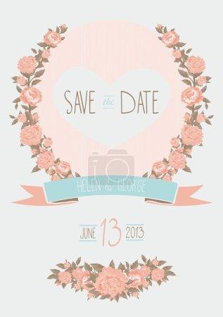 Ilustración de Guardar la invitación de la boda fecha, shabby chic plantilla vector illustration - Imagen libre de derechos