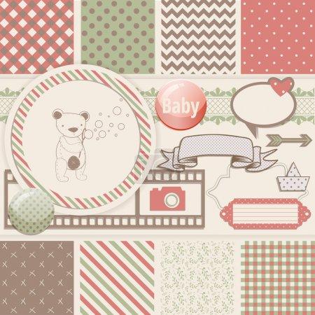Illustration pour Vintage Design Elements for Scrapbook with seamless pattern and teddy bear - image libre de droit