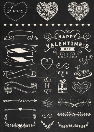 Chalk Valentine's day design elements