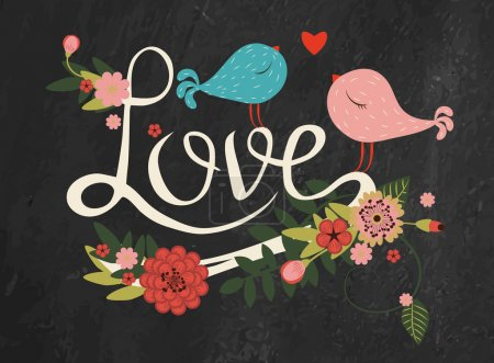 """Illustration for Vector freehand letters """"love"""" text doodles with floral decor and two birds on blackboard background - Royalty Free Image"""