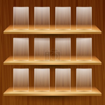 wooden shelves with empty glass boxes