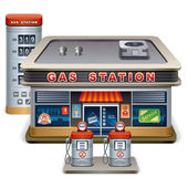 Vector detailed illustration of roadside gas station XXL icon