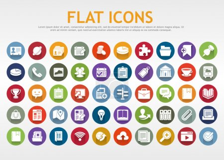Illustration for Flat icons. Vector. Set of icons for web, business or media. Eps 10. - Royalty Free Image