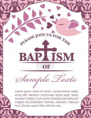Baptism Card Invitation Bird and Pattern