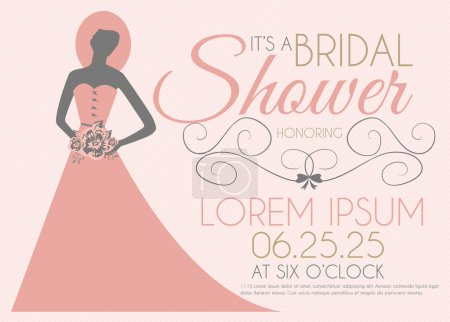 Bridal Shower Invitation Card with Girl in Wedding Dress