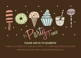 Party Invitation Template with Ice Cream Cupcakes Popsicle Donuts