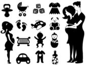 Black and White Baby and Pregnancy Icons Sets