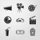 Cinema (movie) icons set