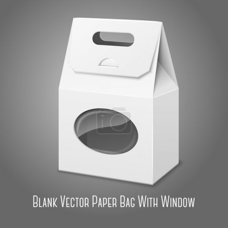 Illustration for Blank white realistic paper packaging bag with handle and transparent window, with place for your design and branding. Isolated on grey background. Vector - Royalty Free Image