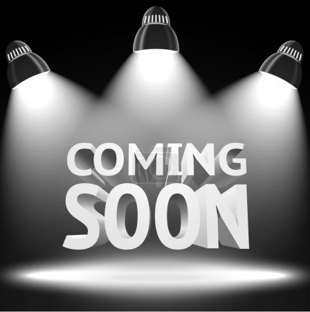"Illustration for Stage with the spot light projectors lightning the ""Coming Soon"" message for your business, presentations, offers etc. Vector - Royalty Free Image"