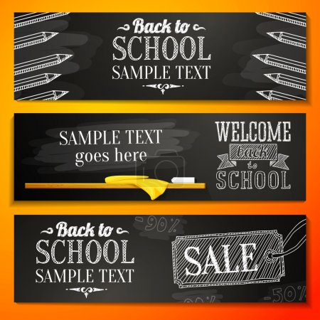 Set of school banners with place for your text and sale advertisement, and welcome back to school greeting. Vector