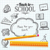 Back to school message on school paper with speech bubble for your text Vector illustration