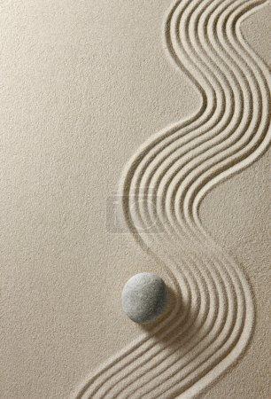 Photo pour Vue de dessus d'une pierre sur fond de sable - image libre de droit