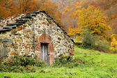 Shepherd house in autumnal landscape, Asturias. Spain.