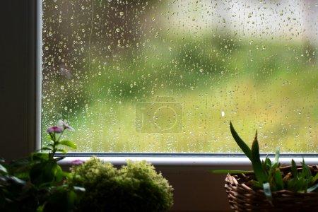 Photo pour Pluie devant la fenêtre - image libre de droit