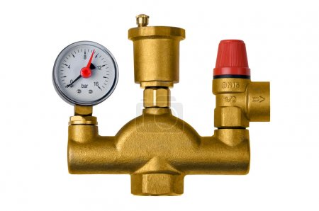 Photo pour Robinet robinet de sécurité vanne de mesure de pression de la chaudière - image libre de droit