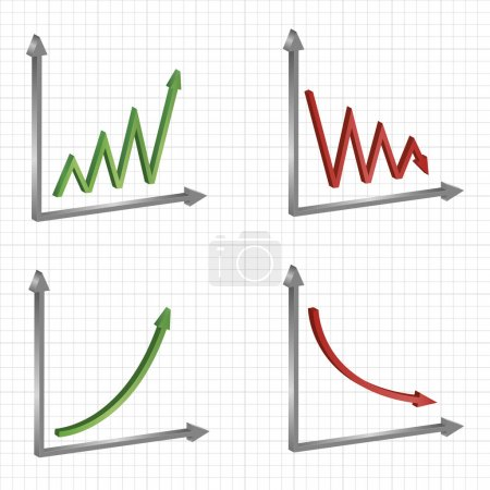 set of different business graphs and charts