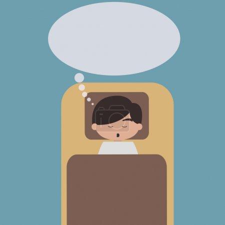 Illustration pour Homme endormi avec bulle de dialogue - image libre de droit