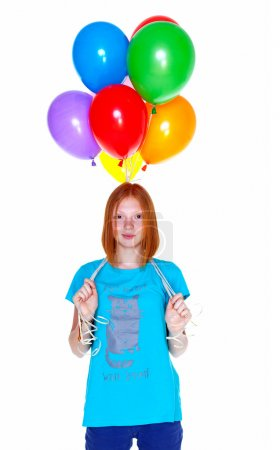 Girl with inflatable balloons isolated on white background