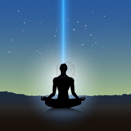 Illustration for Male silhouette in meditation pose on landscape - Royalty Free Image