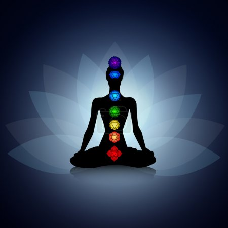 Illustration for Human silhouette in yoga pose with chakras - Royalty Free Image