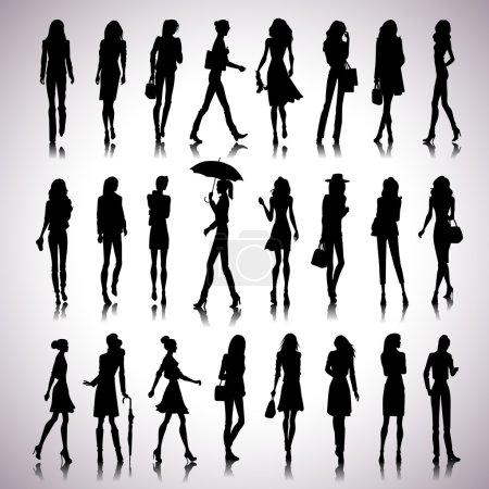 Urban women silhouettes