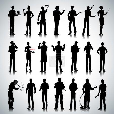 Photo pour Ensemble de différentes professions personnes silhouettes sur fond abstrait - image libre de droit