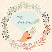 Cute card with a bird in vector cartoon illustration for greetings with wild herbs