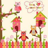 Seamless pattern with cute owls and colorful houses for birds vector illustration